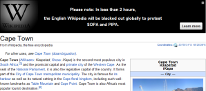 Wikipedia Shuts Down in Cape Town at 7:30am!