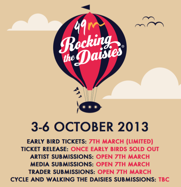 Rocking the Daisies Dates 2013